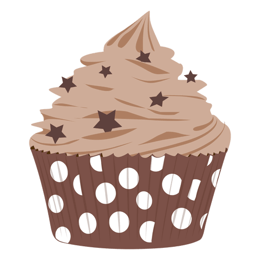Vector cupcakes hand. Chocolate frosting cupcake illustration
