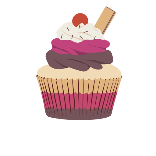 Vector cupcakes illustrated. Collection of download triple