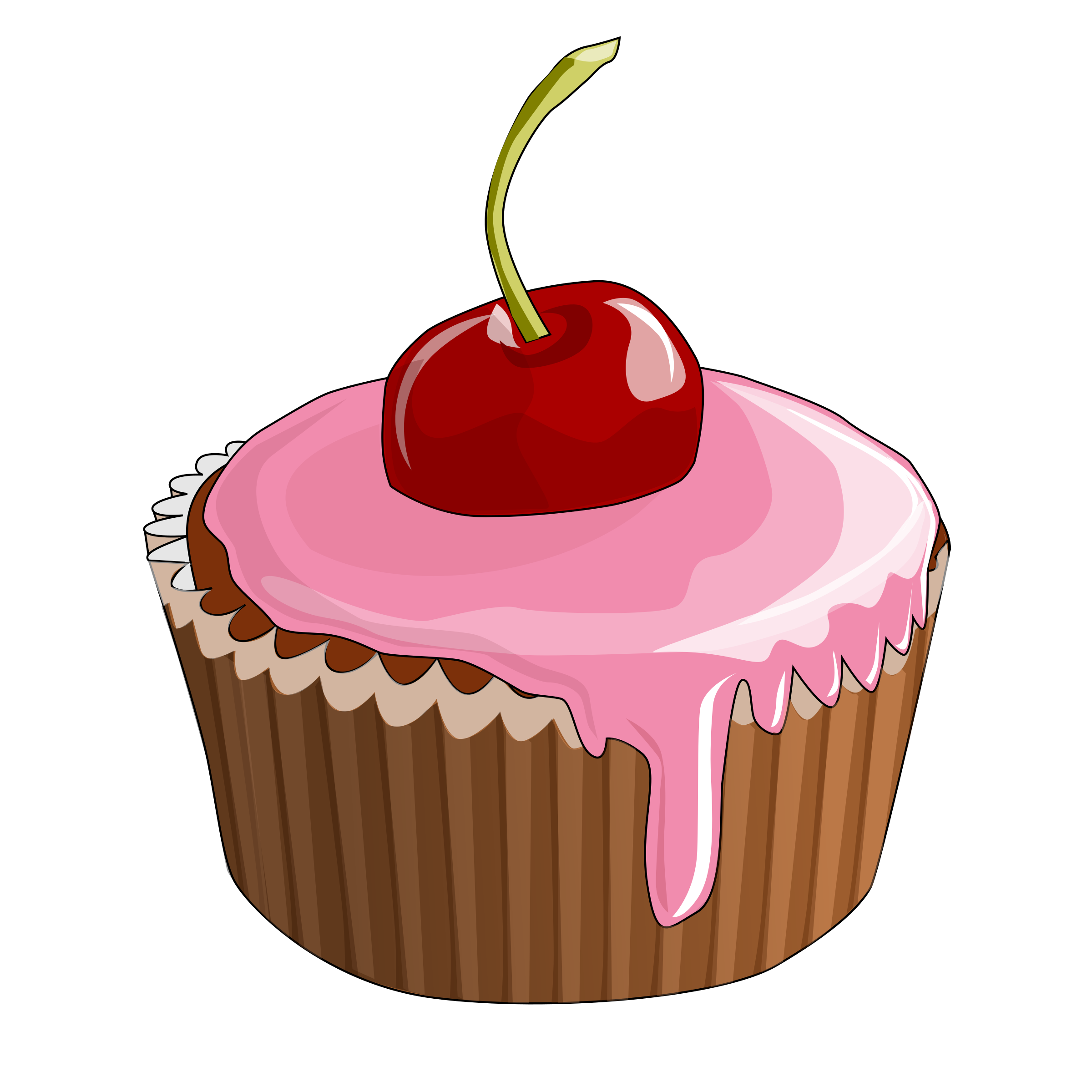 Vector cupcakes line art. Cherry cupcake icons png