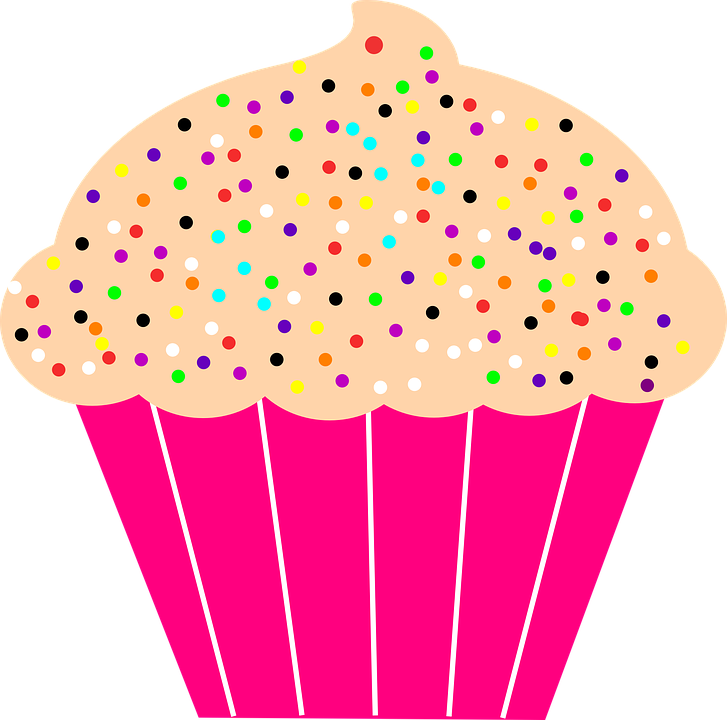 Vector cupcakes sprinkle clipart. Clip black and