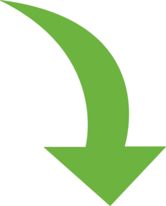 Vector curve leaf. Curved arrow bright green