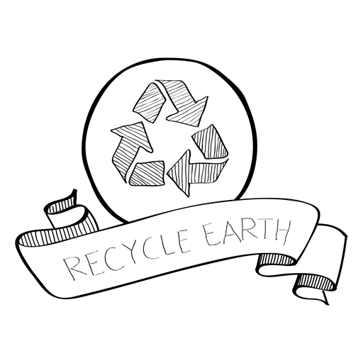 Packaging vector doodle. Recycle earth ribbon transparent