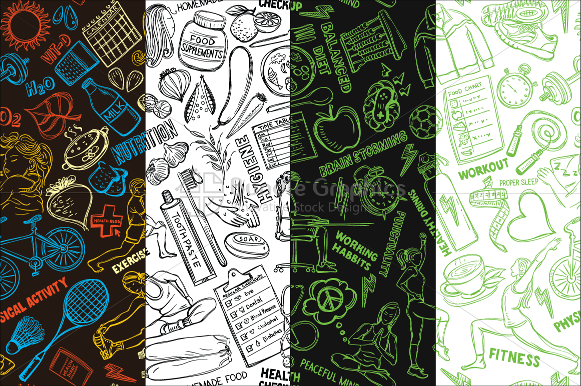 Vector doodle pattern. Health and fitness graphic