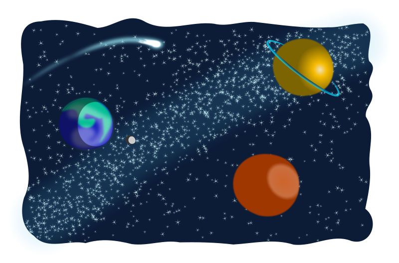 Vector doodle space. Collection of free galaxies