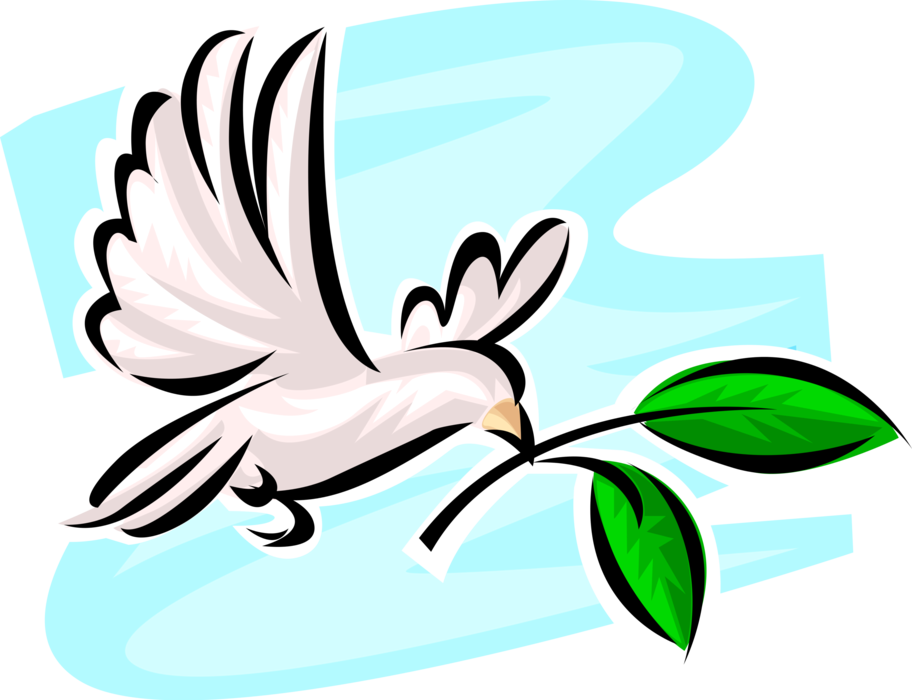 Vector doves peace. Dove of with olive