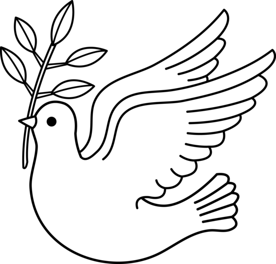Vector doves lineart. Peace dove line art