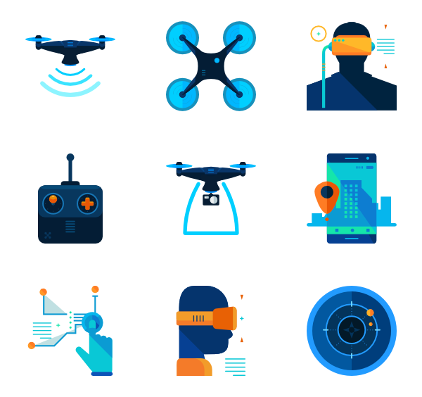 Drone icons free. Vector drones banner stock