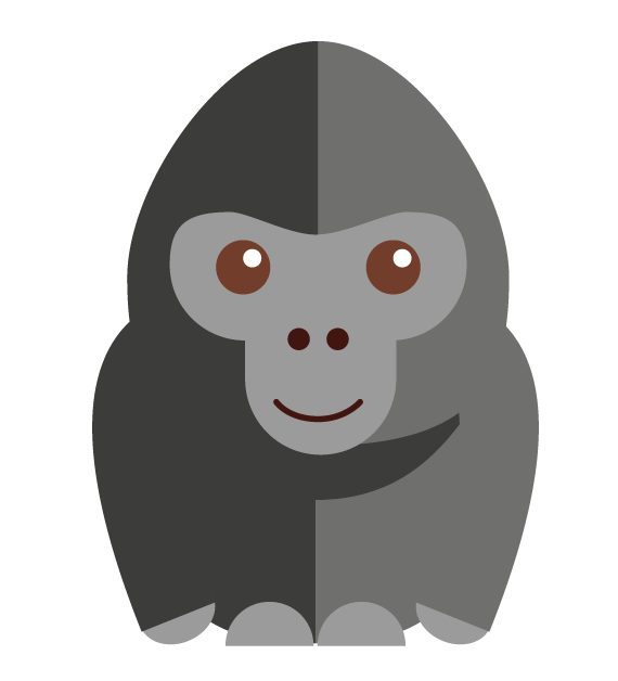 Vector gorilla character. Cstyle learn to trace