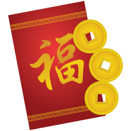 Vector envelope packet. Red icon chinese new