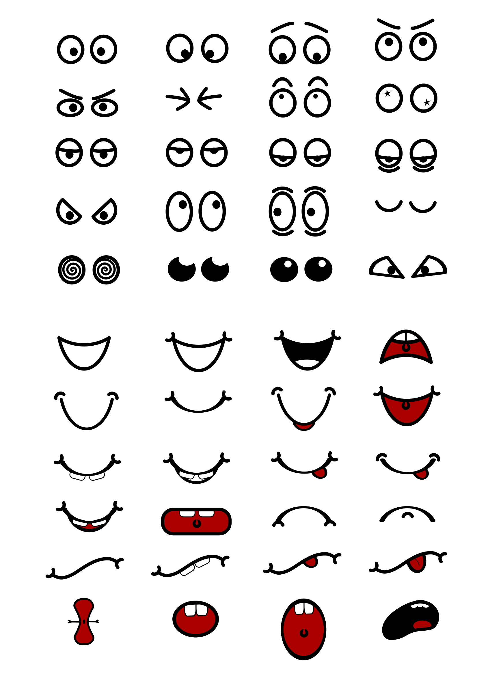 Vector expressions mouth. Cartoon n eyes by
