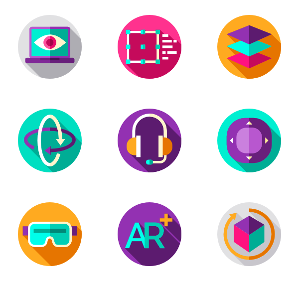 Icons free virtual reality. Colorful vector eye royalty free