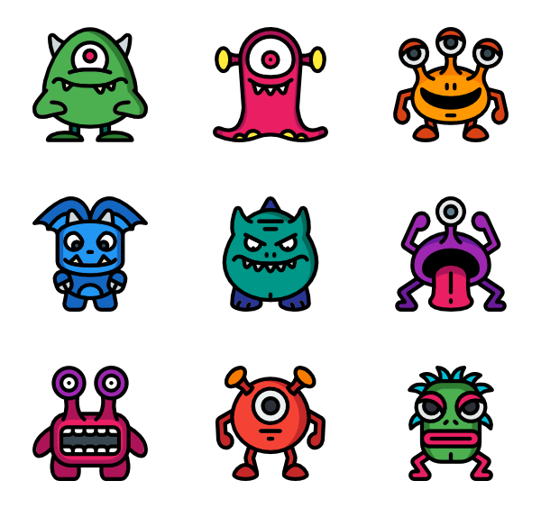 Vector monsters psd. Halloween monster icons free