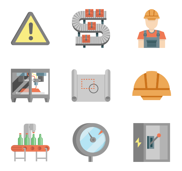Icons free production line. Vector factory background banner transparent stock