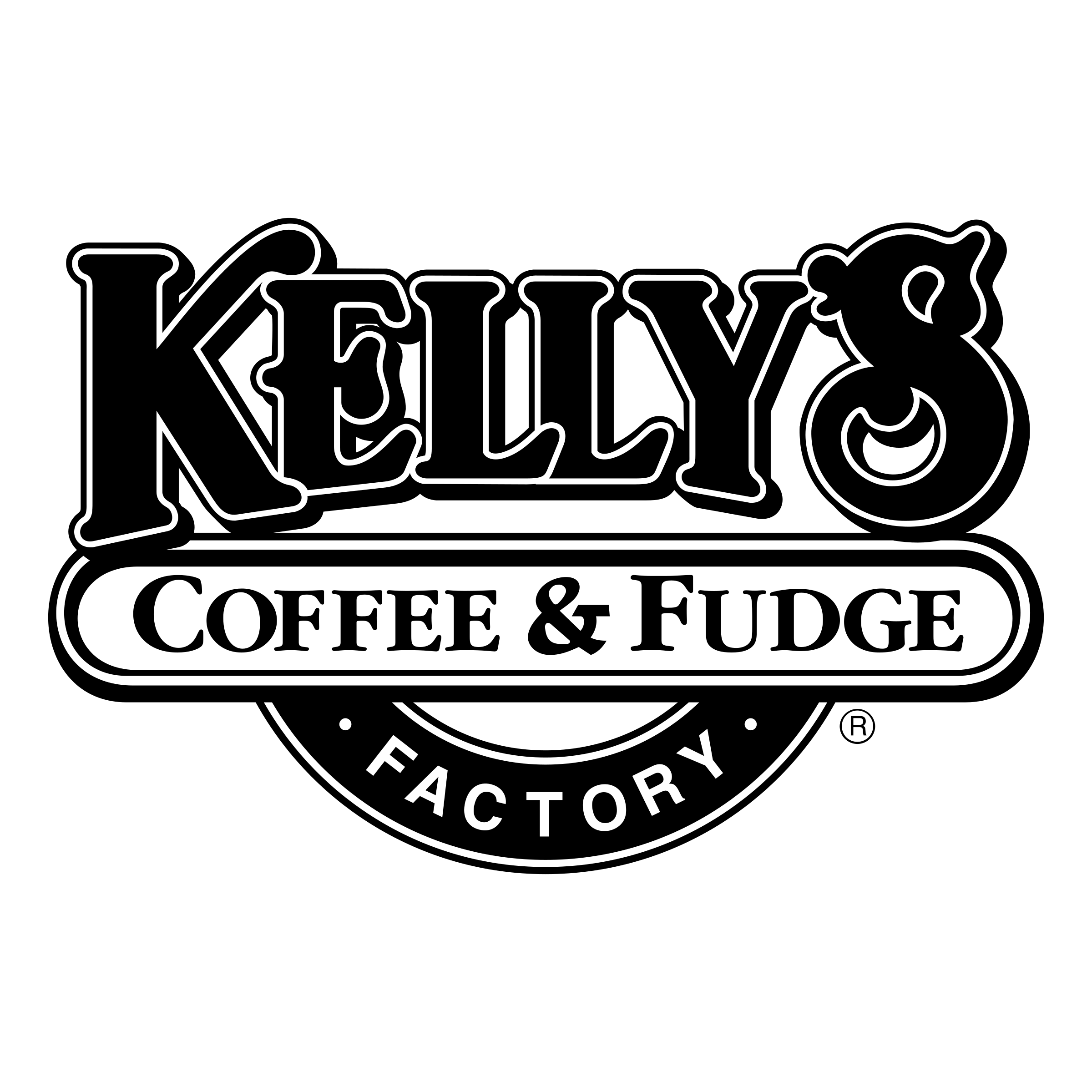 Vector factory coffee. Kelly s fudge logo