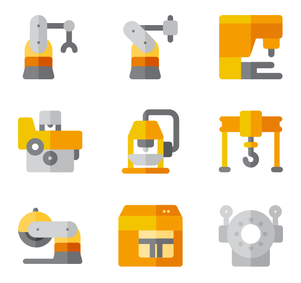 Vector factory machinery. Icons free