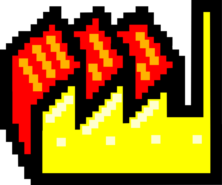 Vector factory symbol. Pixelated image illustration of