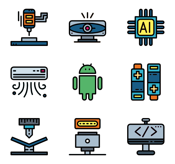 Vector factory clothes. Icons free robot machine