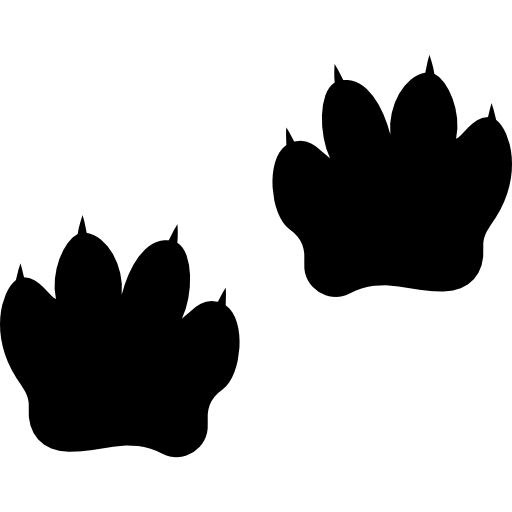 Vector footprints silhouette. Animal silhouettes icons free