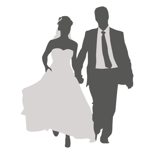 Vector formatting couple. Wedding walking silhouette transparent