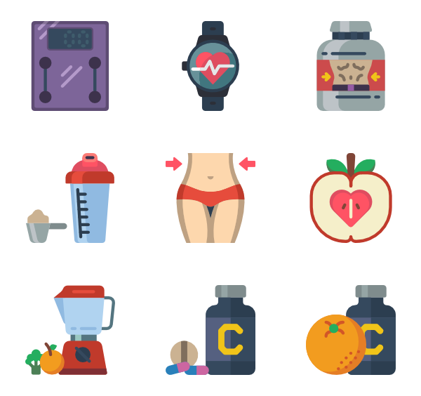 Vector fruits yellow fruit. Icons free diet and
