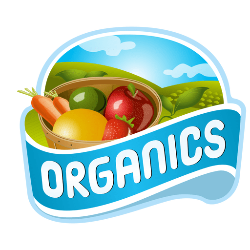 Vector fruits badge. Organics logo transparent png