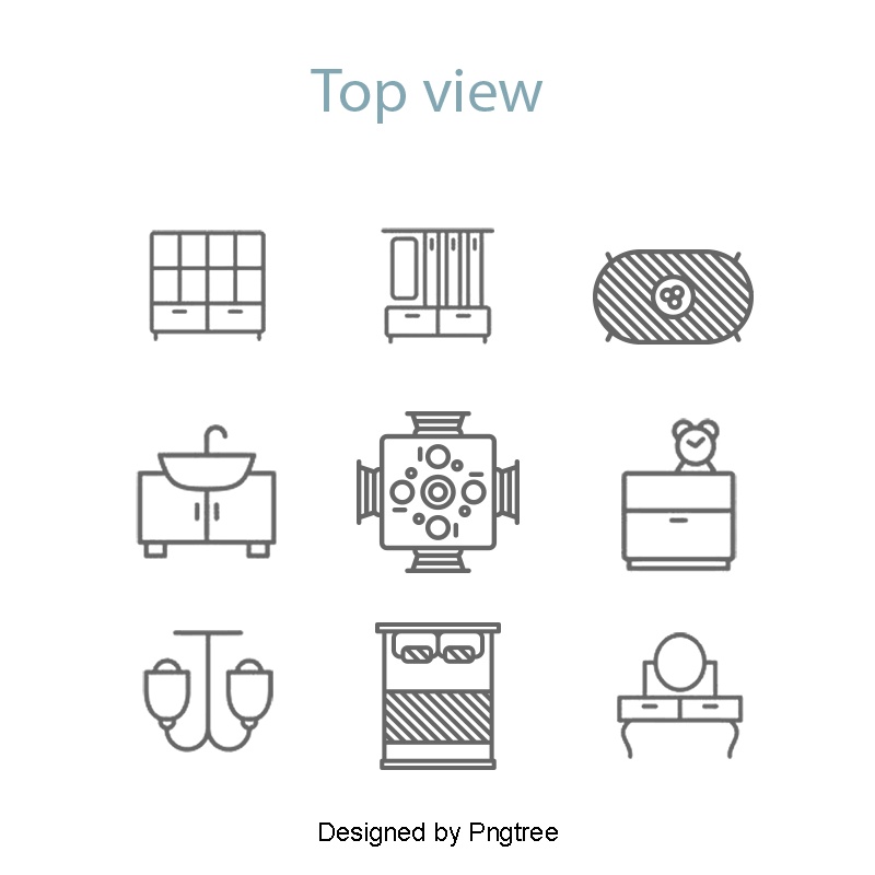 Icon in the top. Vector furniture elements graphic library