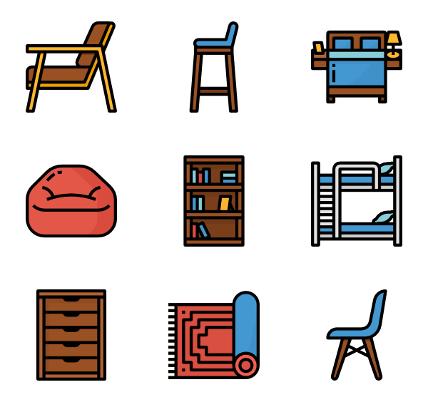 Vector furniture psd. Home icon packs