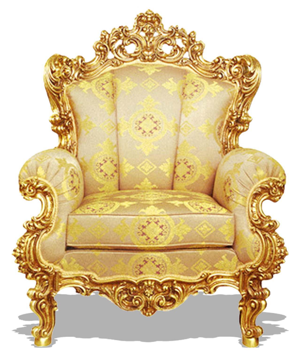 Vector furniture classic. Table chair couch gold
