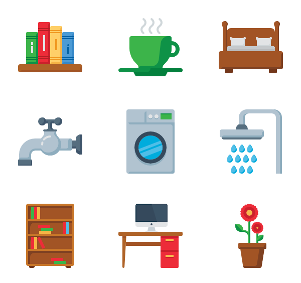 Vector furniture elements. Home icon packs