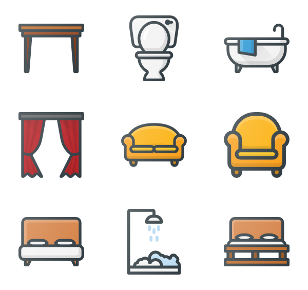 Vector furniture interior. Icon packs for