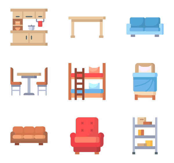Vector furniture office. Chair icons free