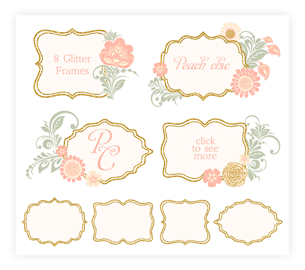 Vector glitter gold pattern. Floral peach day collection