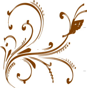 Vector gold butterfly. Floral design with clip