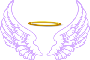 Vector halo clipart. Angel with wings clip