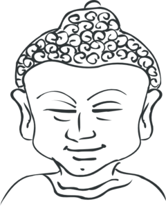 Buddhist drawing art. Buddha head outline clip