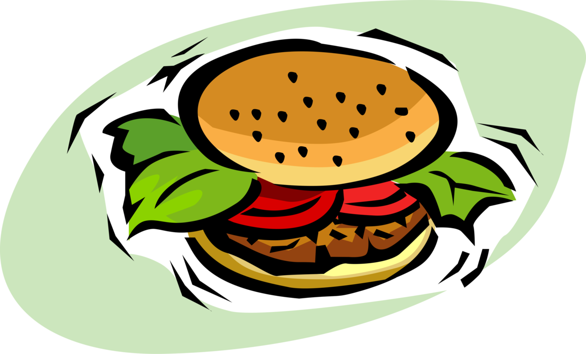 Vector sandwich junk food. Hamburger meal image illustration