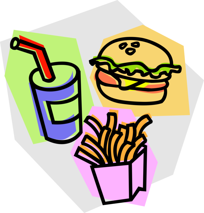 Fries vector french fry. Hamburger with soda and