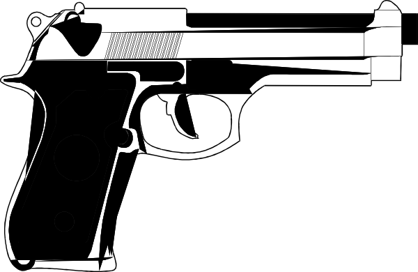 Handgun clip art at. Vector handguns png black and white download