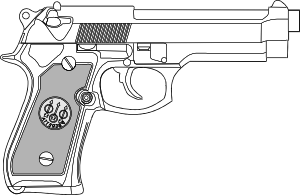 Weapon drawing outline. Pistol clip art at