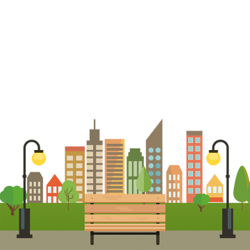 Industrial vector city. Park png vectors psd