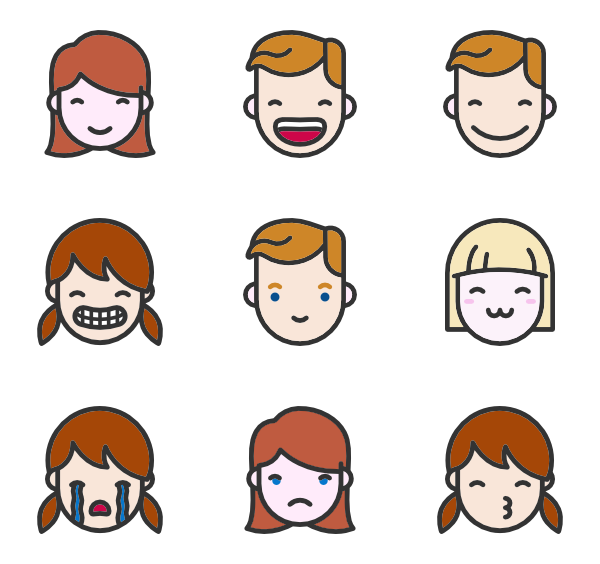 Vector heads. Head icons free linear