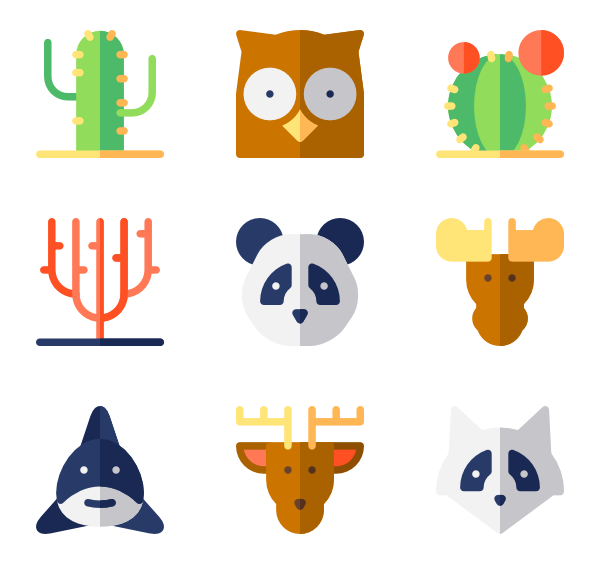 Animal head icons free. Vector heads clip art