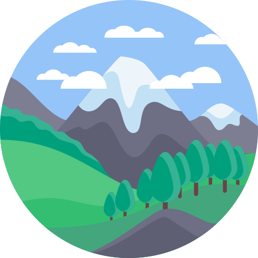 Vector hills green sky. Mountain train icon png