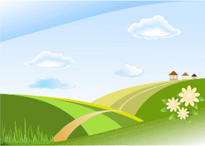 Vector hills green sky. Clipart and blue landscape