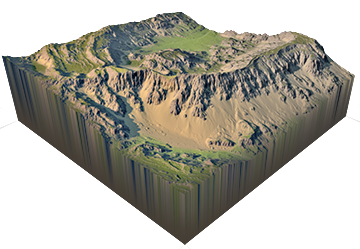 Vector roads terrain. World machine features for