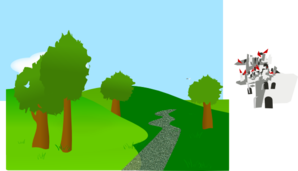 Vector hills mountain tree. Background with trees and