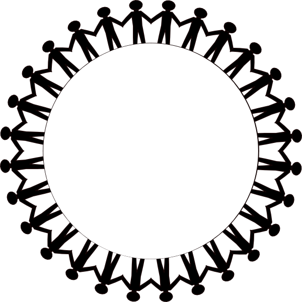 Vector hold hand. Circle of people holding