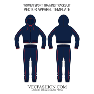 Vector hoodie cropped. Sport training tracksuit template