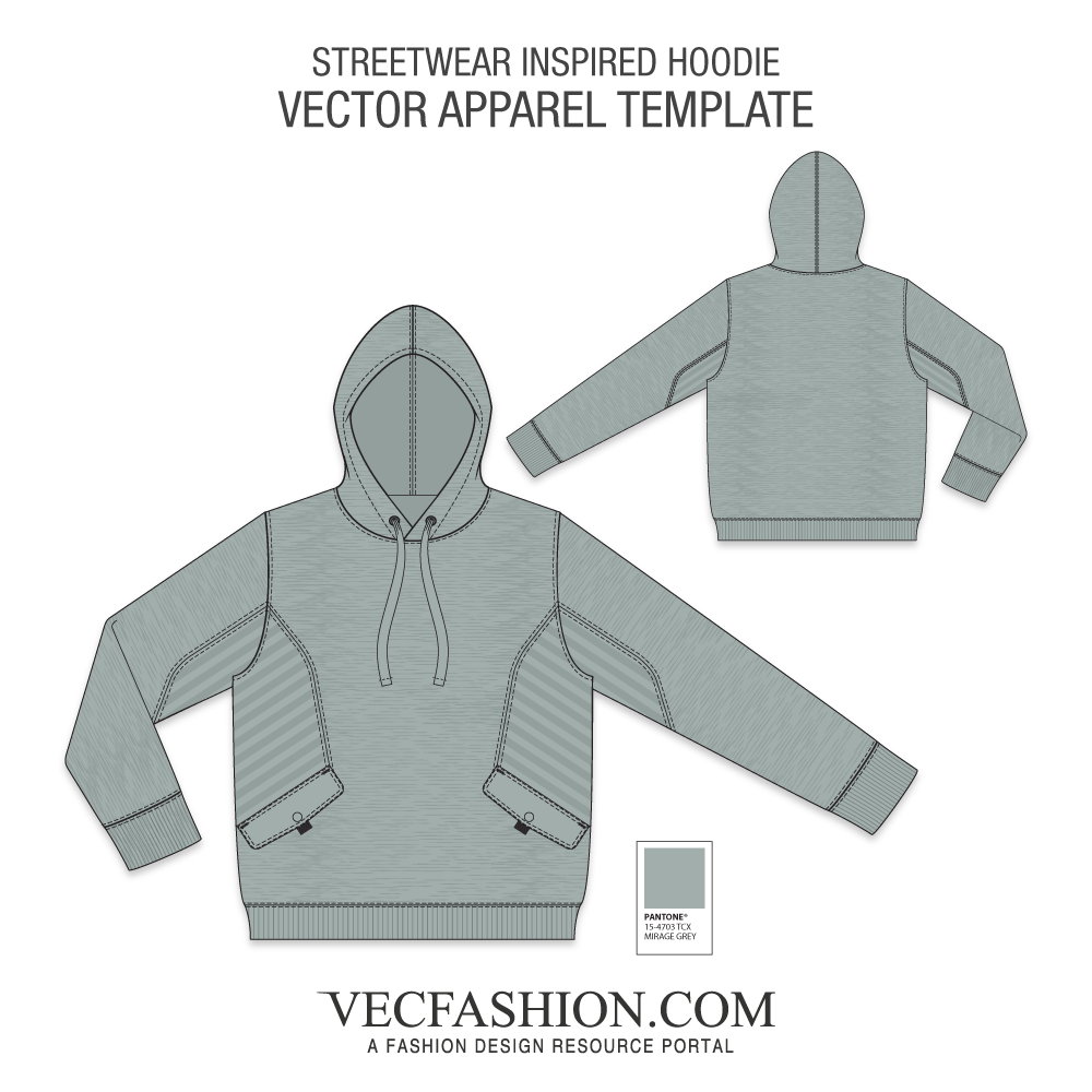 Vector hoodie template gray. Sweatshirts hoodies vecfashion streetwear
