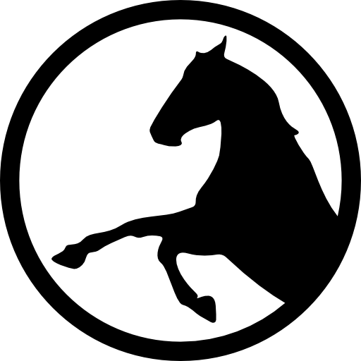 Vector horses circle. Side view horse silhouette